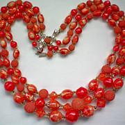 Three Strand Red / Orange Bead Necklace