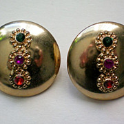 SALE Three Stone Accent Disc Clip Earrings