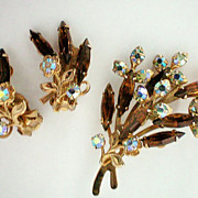 SALE Deep Brown and AB Rhinestone Brooch & Earrings