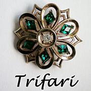 SALE Trifari Philippe Diamond Cut Emerald Green Brooch – Pat Pend.