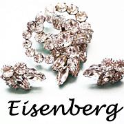 Eisenberg Diamante  Brooch & matching Earrings