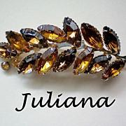 SALE Juliana Amber Root Beer Rhinestone Leaf Brooch