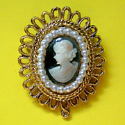 SALE Molded Cameo Pendant or Brooch