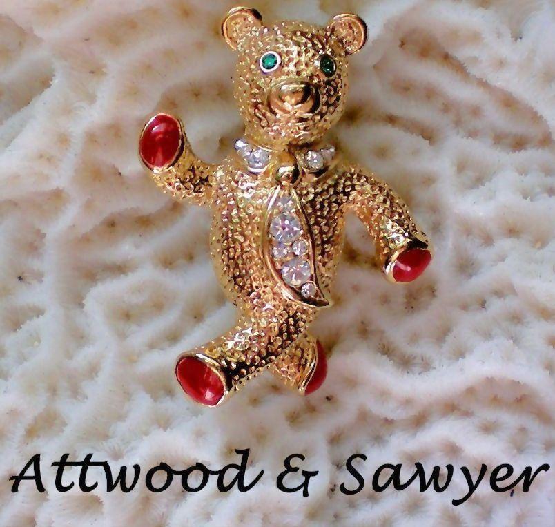 Attwood & Sawyer Enamel and Rhinestone Teddy Bear Pin
