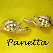 Signed Panetta Clip Earrings