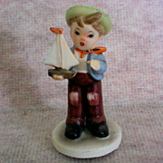 SALE Inarco Figurine of Boy with  Sail Boat