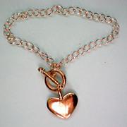 Sweetheart Charm Bracelet with Gold tone Dangle Heart