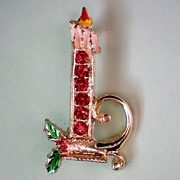 SALE Ruby Red Christmas / Holiday Candle Pin
