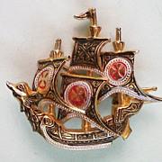 SALE Damascene Ship Pin from Spain