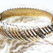 Sparkling Rhinestone Open Weave Hinged Bangle Bracelet