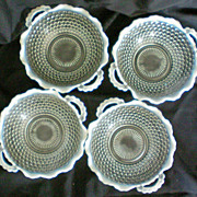 SALE Four Opalescent Moonstone Hobnail Handled Bowls 1940's