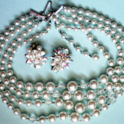 SALE Four Strand Faux Pearl Necklace with Clip Earrings