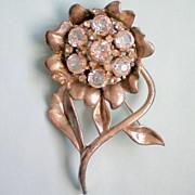 SALE Large Pot Metal Open Back Crystal Flower Brooch