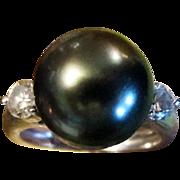 Black Pearl & Diamond Ring, Heirloom