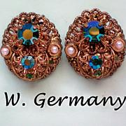 Western Germany Filigree Clip Earrings