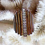 18K HGE Gold Banded Rhinestone Ring
