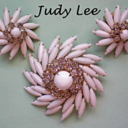 SALE Judy Lee Milk Glass Brooch & Earrings