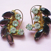 SOLD Rhinestone Lavender Leaf Earrings