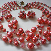 SALE Vendome Peach Four Strand Necklace & Clip Earrings