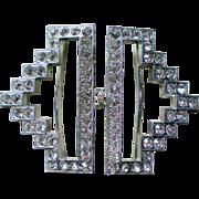 Art Deco Rhinestone Belt Buckle