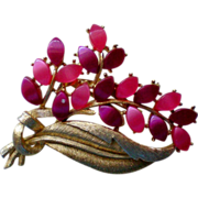 SALE Thermoset Retro Fuchsia Pink Floral Brooch