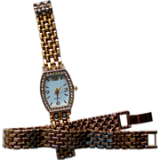 SALE Matching Bracelet and Crystal Accented Watch
