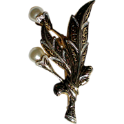 SALE Damascene Flower with Faux Pearls Pin