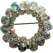 SALE Aurora Borealis Crystal Circle Brooch