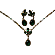 SALE Emerald Green Pendant & Earring Set by 1928 Jewelry