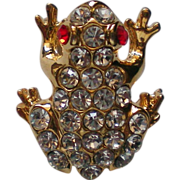 SALE Rhinestone Frog with Red Eyes Pin
