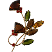 SALE Floral Bouquet Pin with Fall Colored Rhinestones