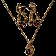 """SALE Avon """"Faux Amethyst"""" Pierced Earrings & Pendant Necklace"""