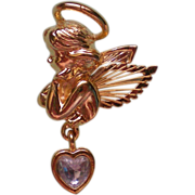 SALE Angel Pin with Wire Wings and Dangle Heart