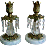 SALE Italian Marble Brass Candlesticks with Dangling Prisms