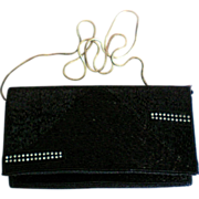 Vintage Robinson's Black Beaded Clutch with Rhinestone Accents