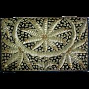 Hand Stitched Gold Thread Evening Clutch