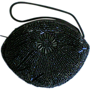 Small Black Beaded Hand or Coin Purse