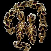 SALE Trifari Red Enamel Bracelet and Dangle Pierced Earrings
