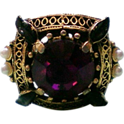 SALE Amethyst Glass Victorian Setting Ring
