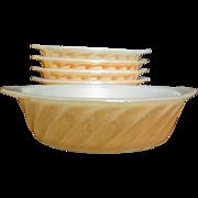 "Anchor Hocking Peach Lustre / Copper Swirl 5"" Baking Dish"