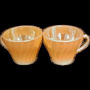 SALE Fire King Anchor Hocking Swirl Pattern Peach Cups