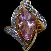 Pink Quartz Cocktail Ring – Size 6