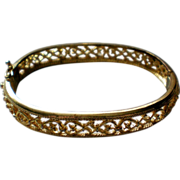 SALE Avon Gold tone Filigree Hinged Bracelet