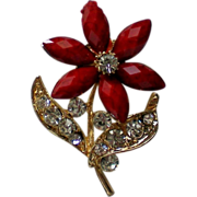SALE Red Flower with Rhinestone Glitter Pin