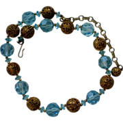 Blue Glass and Gold Filigree Ball Necklace