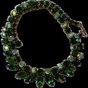 Regency Jewels Green Aurora Borealis Rhinestone Necklace