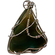 SALE Sterling Silver Wire Wrapped Agate Pendant