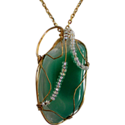 SALE Wire Wrapped Sea Foam Green Natural Stone Pendant