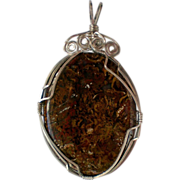 SALE Sterling Silver Wire Wrapped Stone Pendant