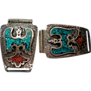 Native American Thunderbird Turquoise / Coral Watch Band Tips